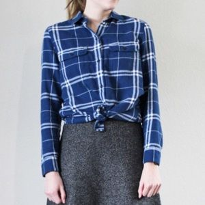 {Madewell} Blue Plaid Flannel Button Down Shirt